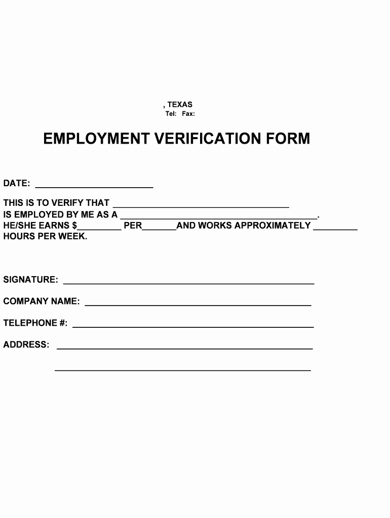 texas employment verification form pdffiller