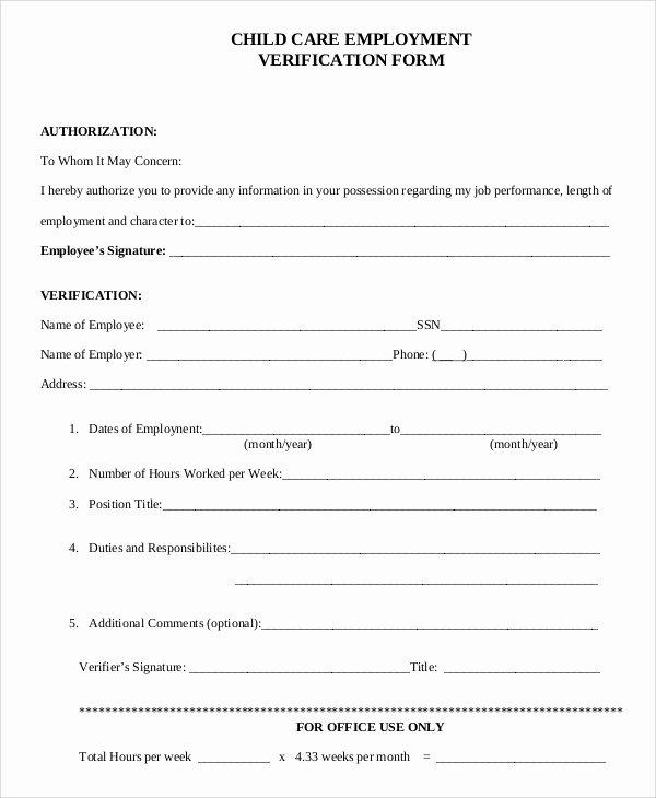 Employment Verification Release form Luxury Sample Verification Of Employment form 10 Examples In