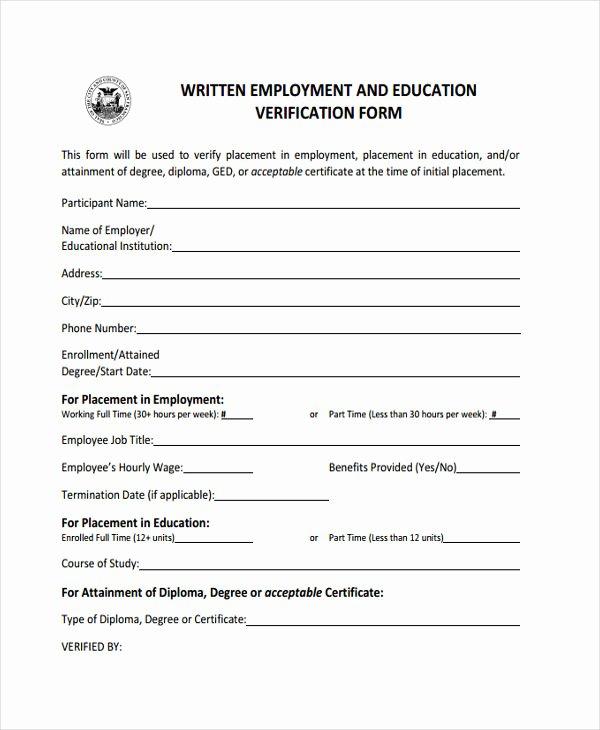 Employment Verification Release form Unique 8 Education Verification form Free Sample Example