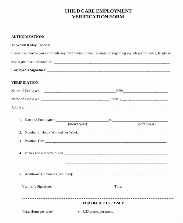 Employment Verification Request form Elegant Sample Verification Of Employment form 10 Examples In Pdf Word