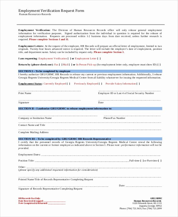 Employment Verification Request form Inspirational Sample Employment Verification form 8 Examples In Word Pdf