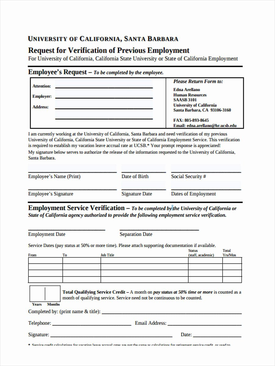 Employment Verification Request form Lovely Free 49 Sample Employee Request forms In Pdf