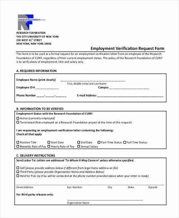 Employment Verification Request form Luxury Free 13 Sample Employment Verification forms