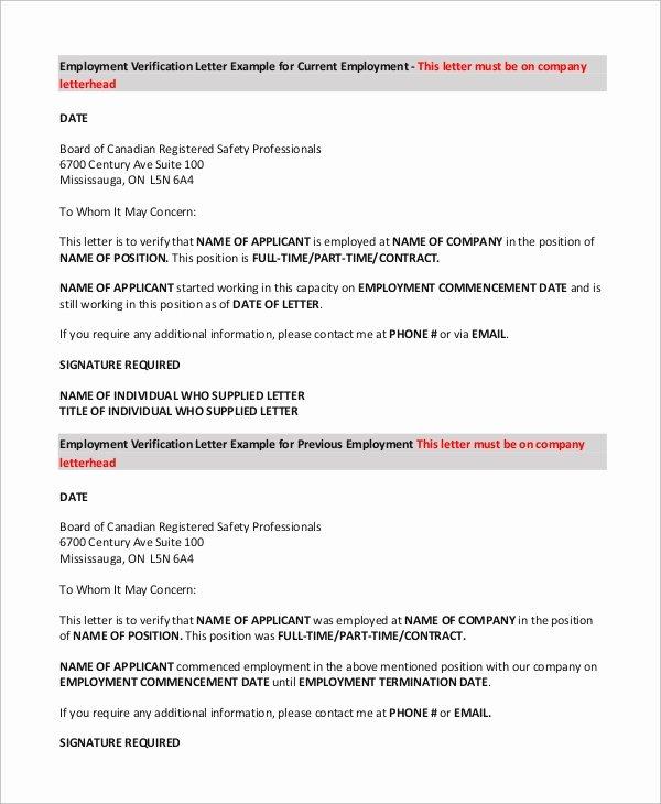 Employment Verification Request form Luxury Sample Verification Of Employment form 10 Examples In Pdf Word