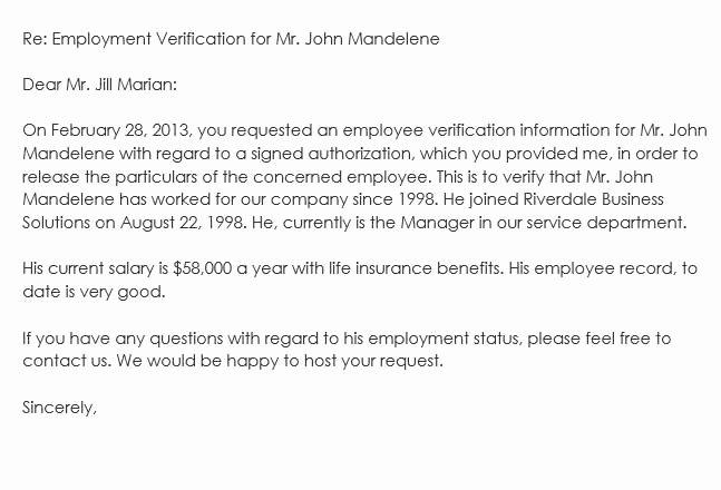 Employment Verification Request form New Sample Employment Verification Request Letters & Replies