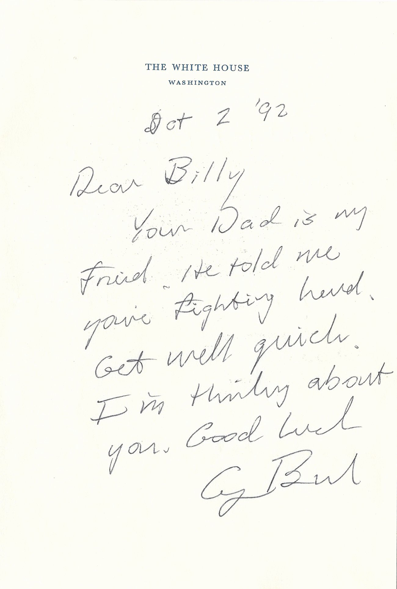 Encouragement Letter to A Friend Awesome George Bush Autograph Letter Signed to A Young Child