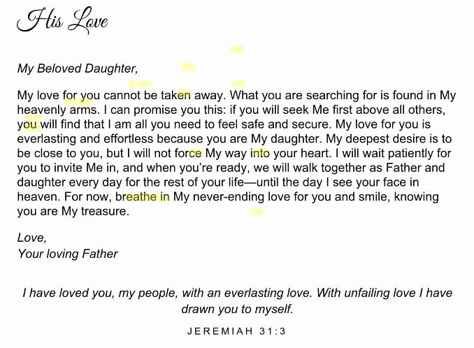 Encouragement Letters to A Friend New His Princess Love Letters to My Daughter Scripture Spiritual Encouragement
