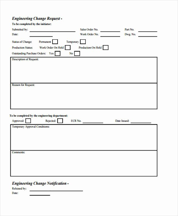 Engineering Change order Template Beautiful Free 33 Change form Templates