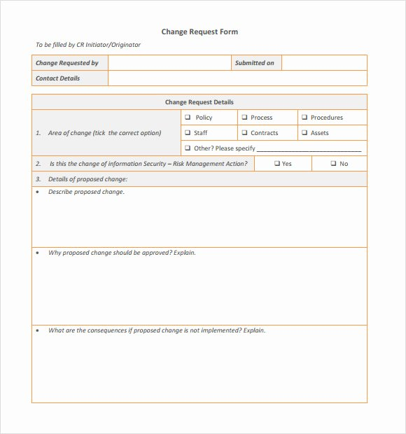 Engineering Change order Template Best Of Sample Change Request Template 9 Free Documents In Pdf Word