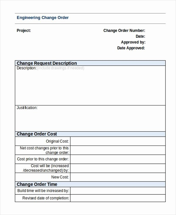 Engineering Change order Template New Free 9 Sample Change order forms In Pdf