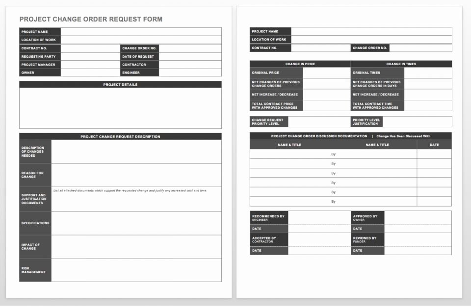 Engineering Change order Template New Plete Collection Of Free Change order forms