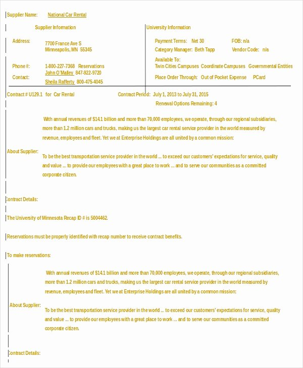 sample car rental agreement