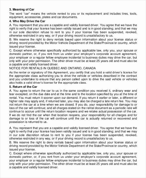 Enterprise Car Rental Agreement Pdf Inspirational Car Rental Agreement 12 Free Word Pdf Documents Download