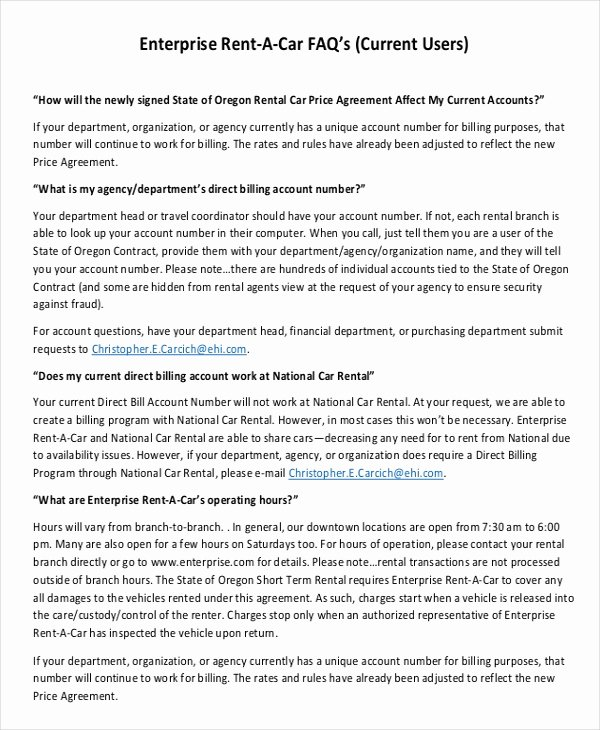 Enterprise Car Rental Agreement Pdf Lovely Enterprise Rental Agreement – 8 Free Word Pdf Documents Download