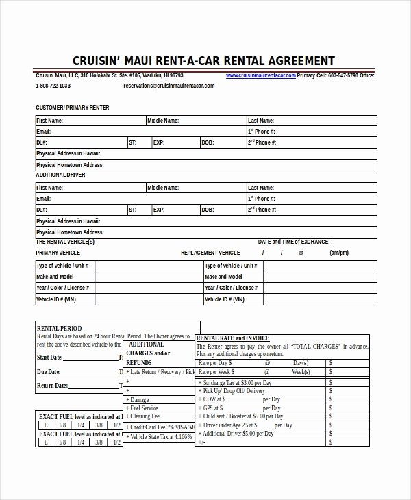Enterprise Car Rental Agreement Pdf New Blank Vehicle Lease Agreement