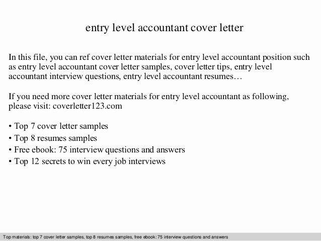 Entry Level Accounting Cover Letter Beautiful Entry Level Accountant Cover Letter