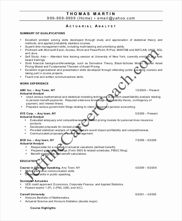 Entry Level Actuary Resume Beautiful Actuarial Resume Template 5 Free Word Pdf Documents Download