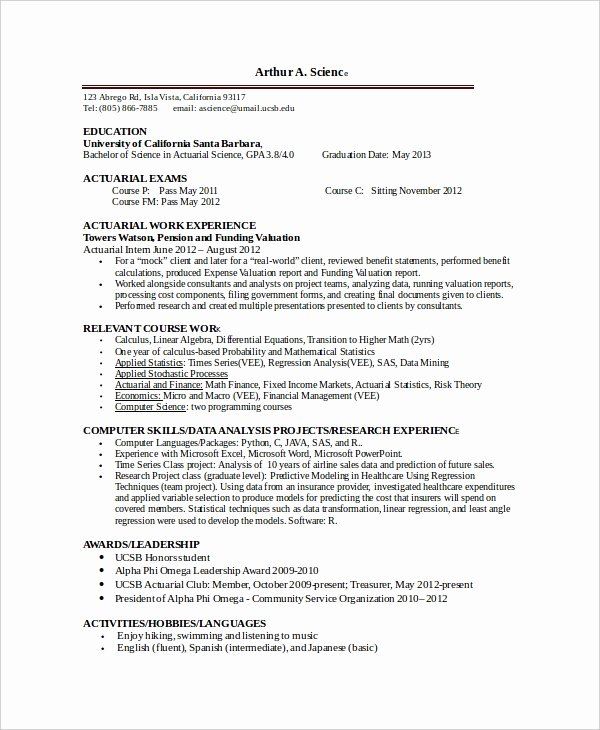 Entry Level Actuary Resume Fresh Actuarial Resume Template 5 Free Word Pdf Documents Download