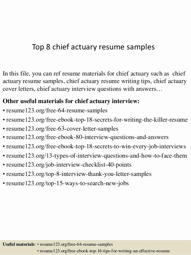Entry Level Actuary Resume New top 8 Chief Actuary Resume Samples