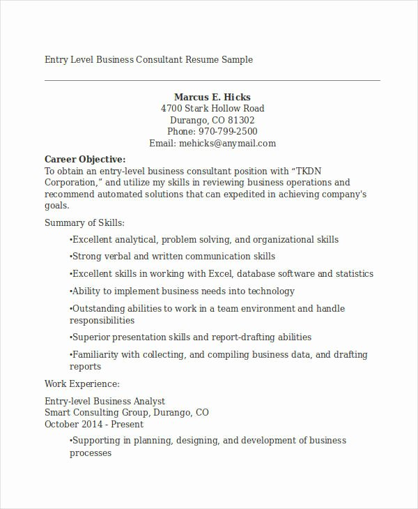 Entry Level Business Analyst Resume Best Of 20 Business Resume Templates Pdf Doc
