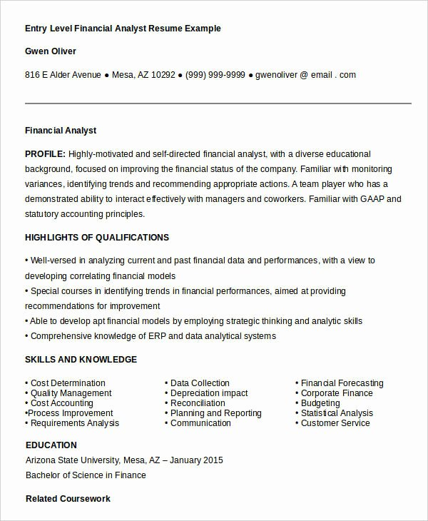 Entry Level Business Analyst Resume Inspirational 23 Finance Resume Templates Pdf Doc