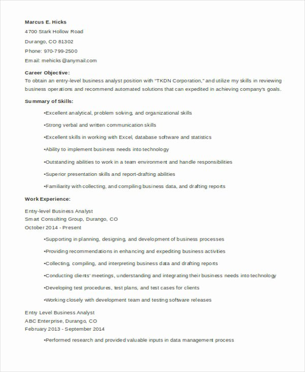 Entry Level Business Analyst Resume Lovely Best Business Resume 30 Free Word Pdf Document Download