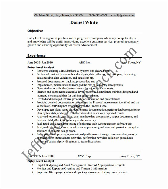 Entry Level Business Analyst Resume Luxury Business Analyst Resume Template – 11 Free Word Excel Pdf Free Download