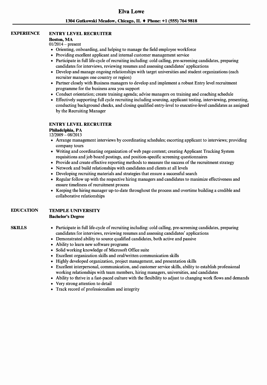 Entry Level Customer Service Resume Awesome Entry Level Recruiter Resume Samples