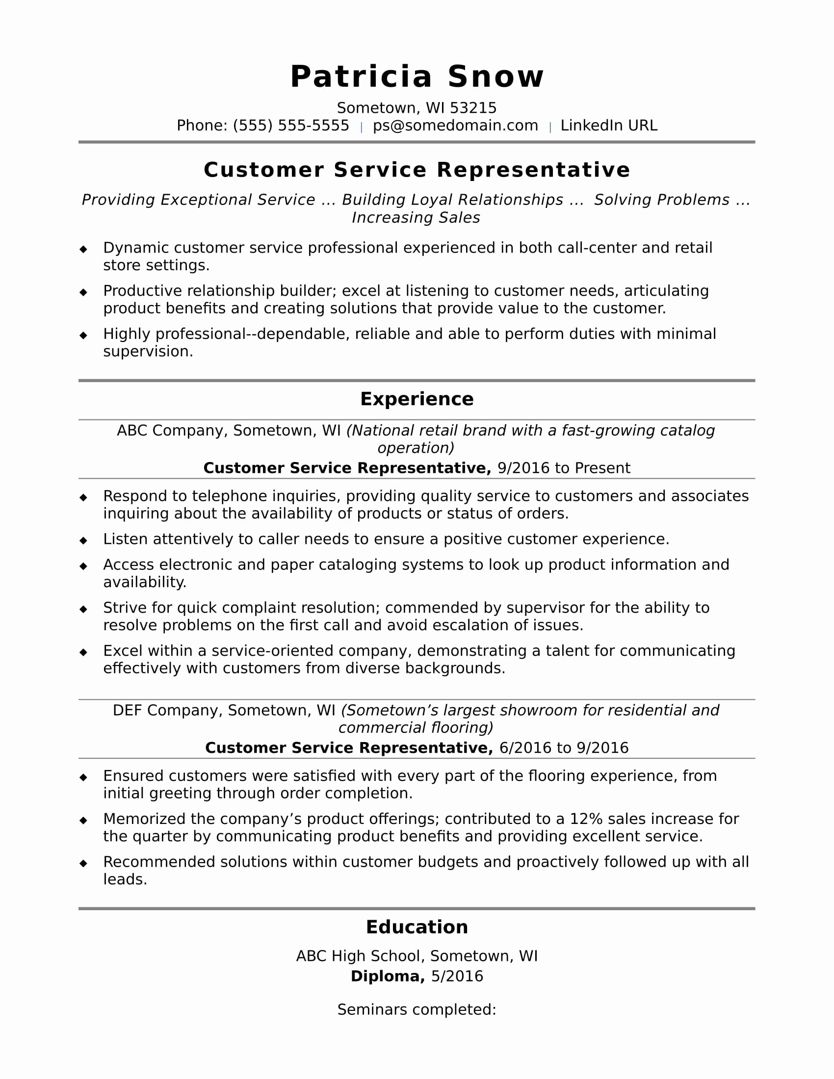 Entry Level Customer Service Resume Best Of Customer Service Representative Resume Sample