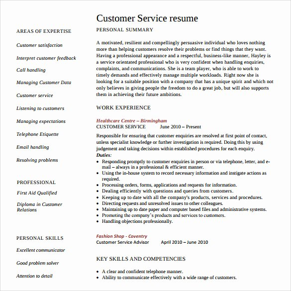 Entry Level Customer Service Resume Best Of Sample Customer Service Resume 10 Download Free Documents In Pdf Word