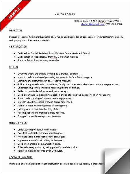 Entry Level Dental assistant Resume Best Of Dental assistant Resume Sample Resume Examples