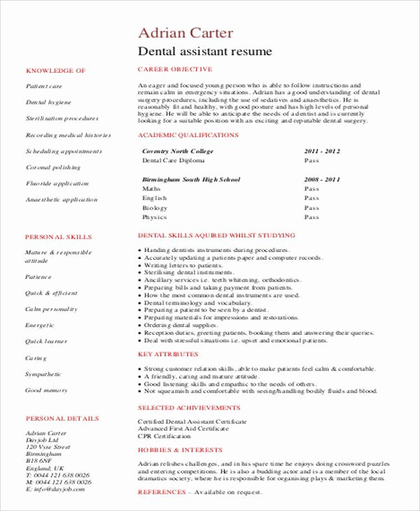 Entry Level Dental assistant Resume Luxury Sample Dental Hygienist Resume 8 Examples In Word Pdf