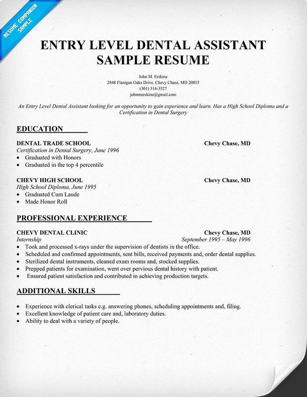 Entry Level Dental assistant Resume New Entry Level Dental assistant Resume Sample Dentist Health Student Resume Panion