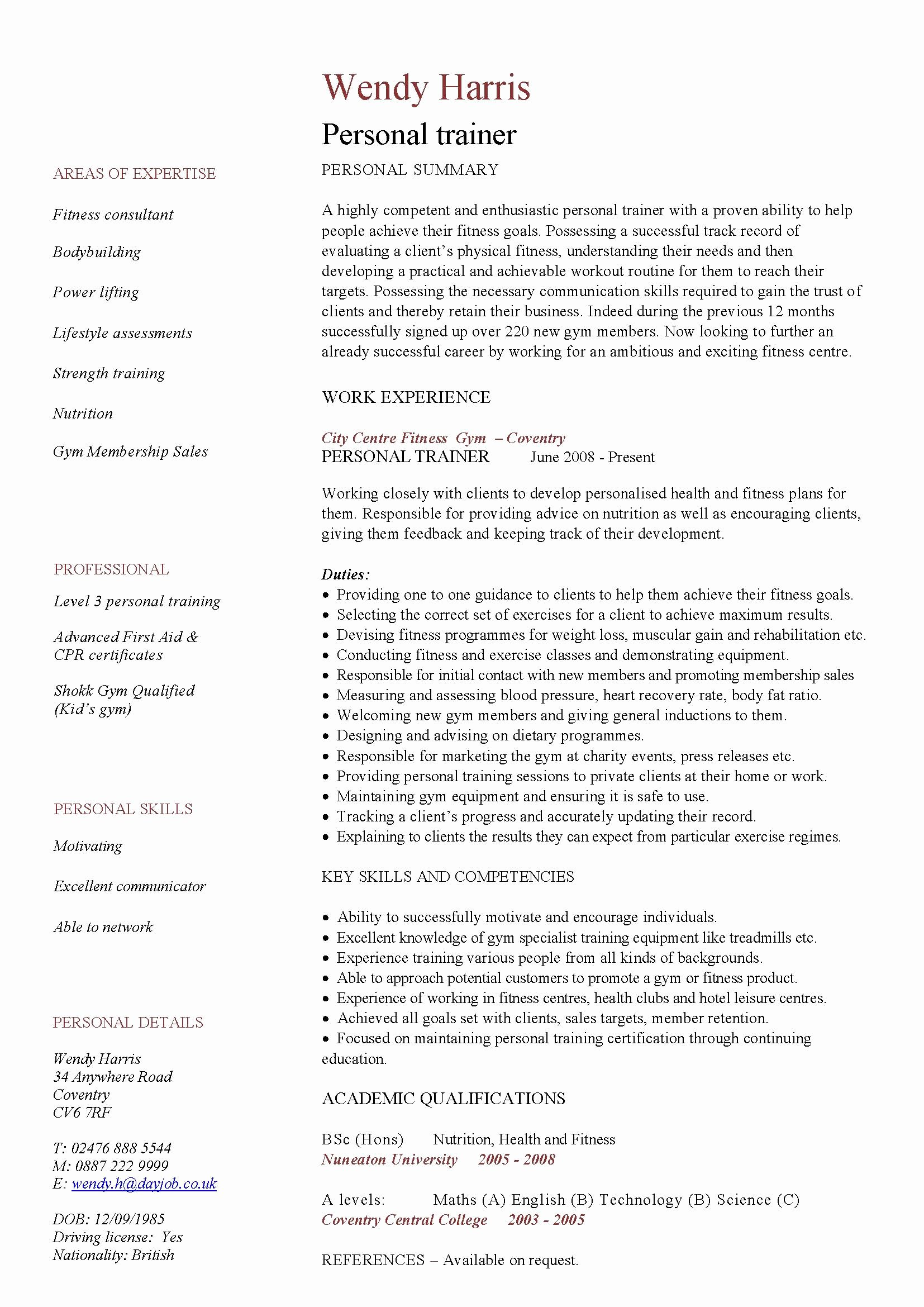 Entry Level Dietitian Resume Awesome Entry Level Personal Trainer Resume Pdf format