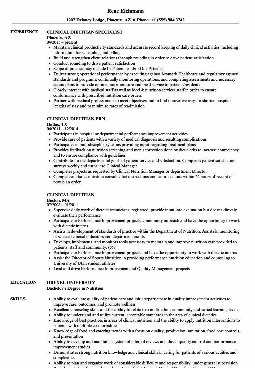 Entry Level Dietitian Resume Best Of Entry Level Dietitian Resume Examples