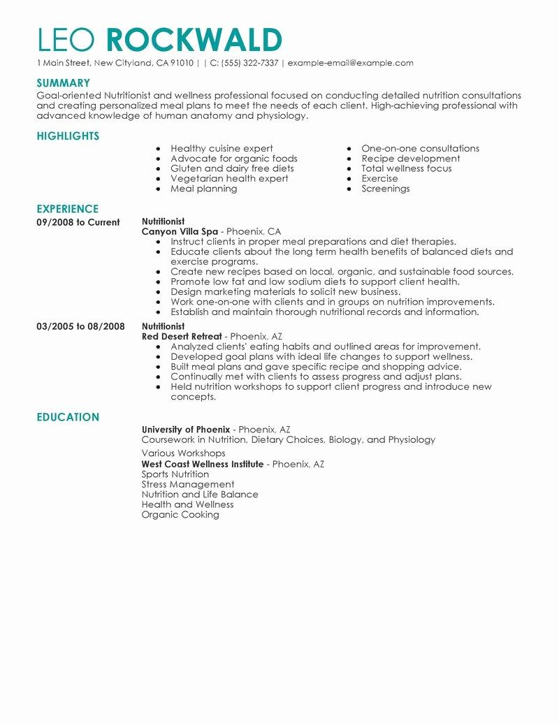 Entry Level Dietitian Resume Elegant Nutritionist Resume Examples Salon Spa Fitness Resume Samples