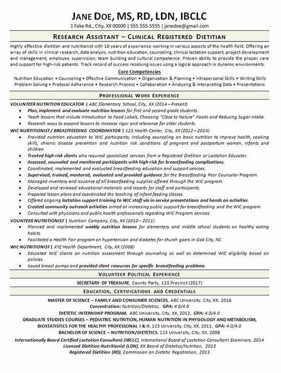 Entry Level Dietitian Resume Fresh Entry Level Dietitian Resume Examples