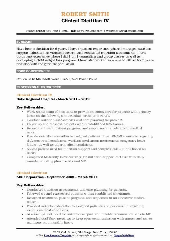 Entry Level Dietitian Resume Lovely Clinical Dietitian Resume Samples