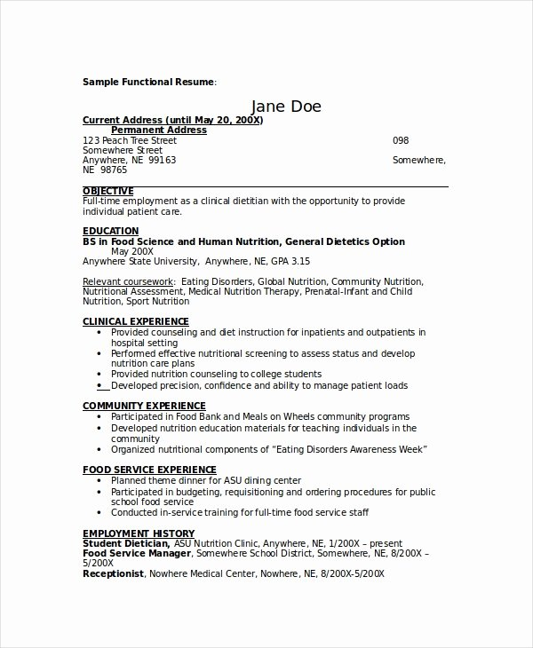 Entry Level Dietitian Resume Lovely Dietitian Resume Template 6 Free Word Pdf Documents Download