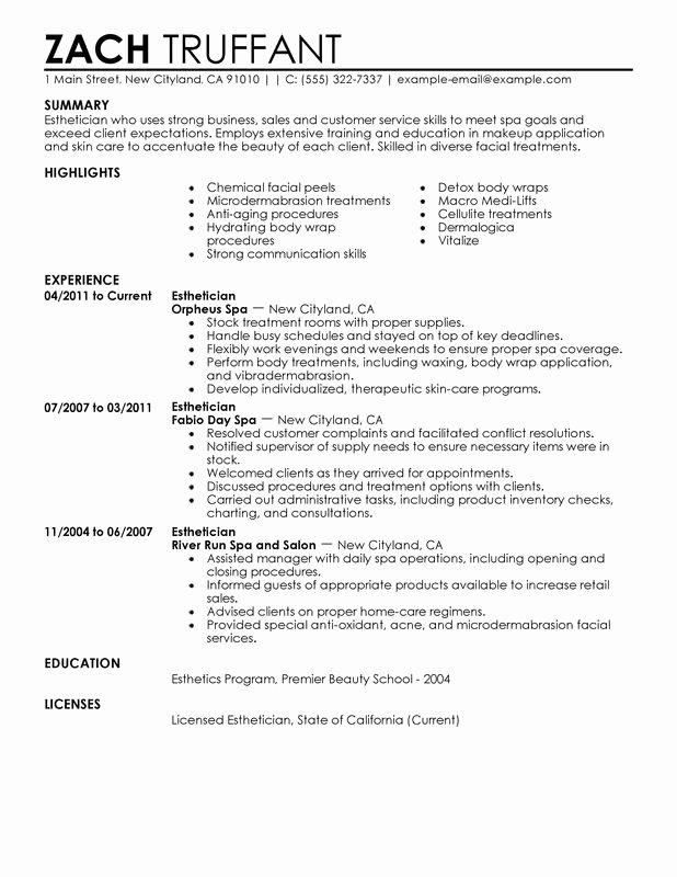 Entry Level Dietitian Resume Unique 12 Sample Esthetician Resume 2016 Samplebusinessresume Samplebusinessresume
