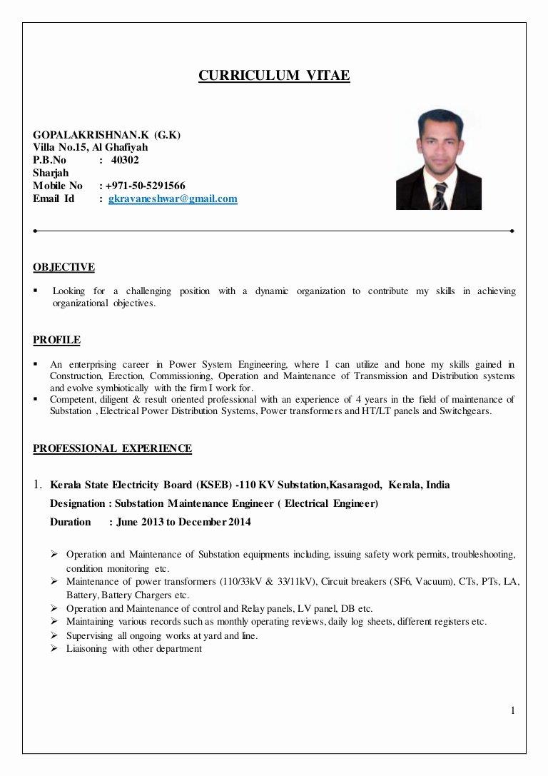 Entry Level Electrical Engineer Resume Best Of Electrical Engineer Cv