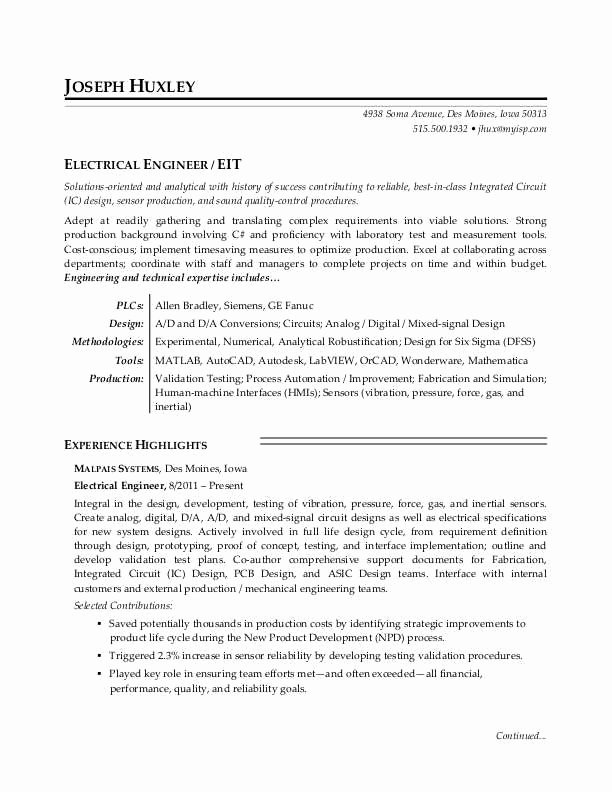 Entry Level Electrical Engineer Resume Best Of Electrical Engineer Resume Sample