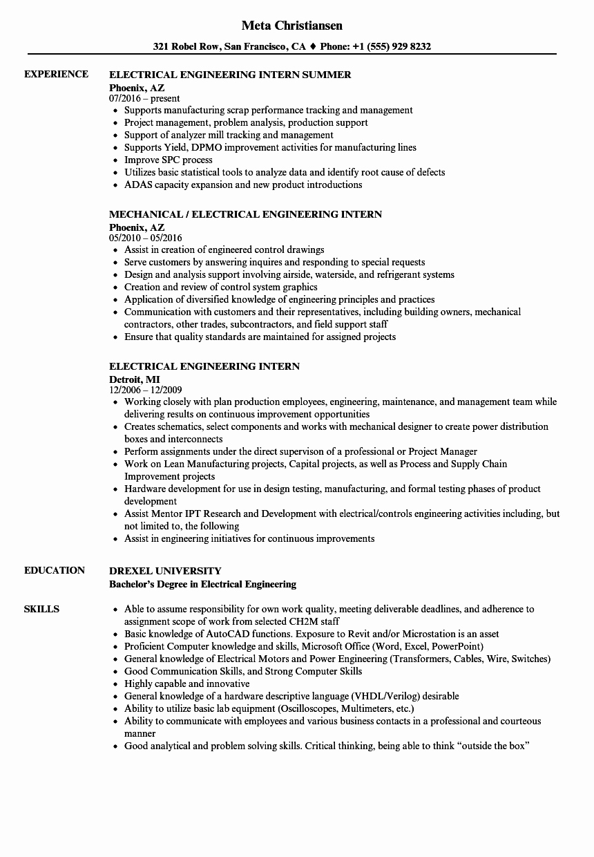 Entry Level Electrical Engineer Resume Elegant Electrical Engineering Intern Resume Samples