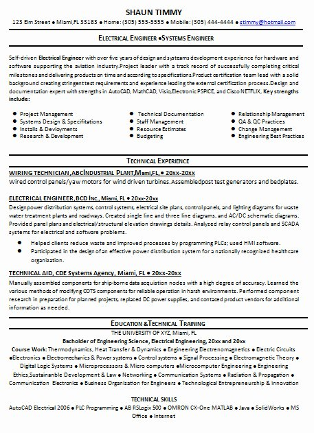 Entry Level Electrical Engineer Resume Fresh Sample Resume for Electrical Engineer 2