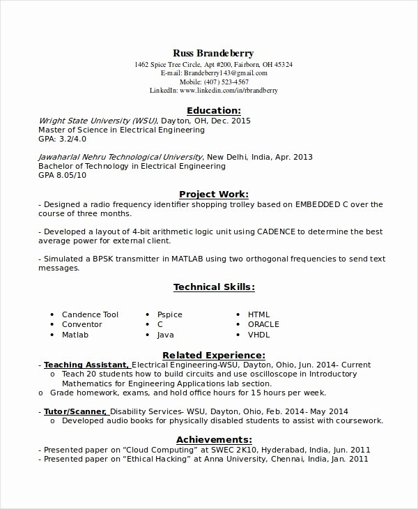 Entry Level Electrical Engineer Resume Inspirational 9 Entry Level Resume Examples Pdf Doc