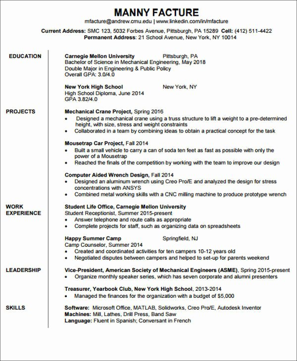 Entry Level Electrical Engineer Resume New 20 Engineering Resume Templates In Pdf
