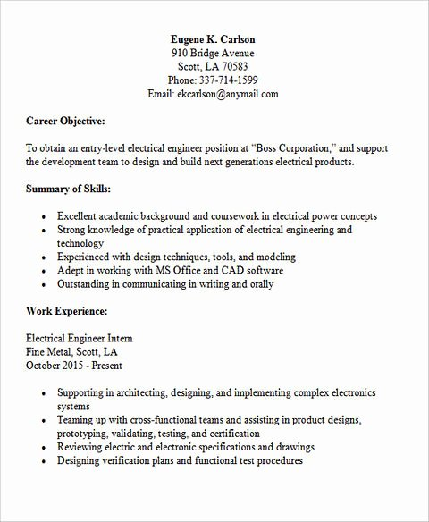 Entry Level Electrical Engineer Resume New Powerful Entry Level Engineering Resume Samples to Get Hired