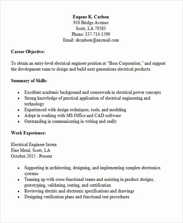 Entry Level Electrical Engineer Resume Unique 30 Modern Engineering Resume Templates