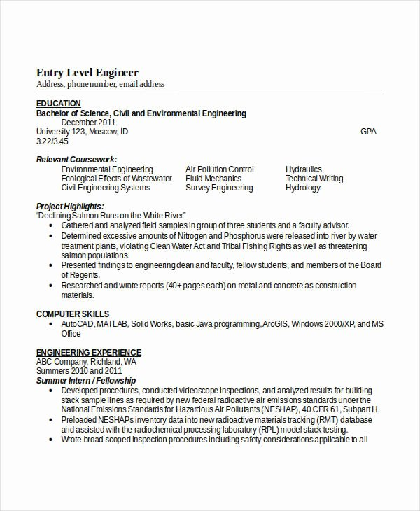 Entry Level Electrical Engineer Resume Unique Engineering Resume Template 32 Free Word Documents Download
