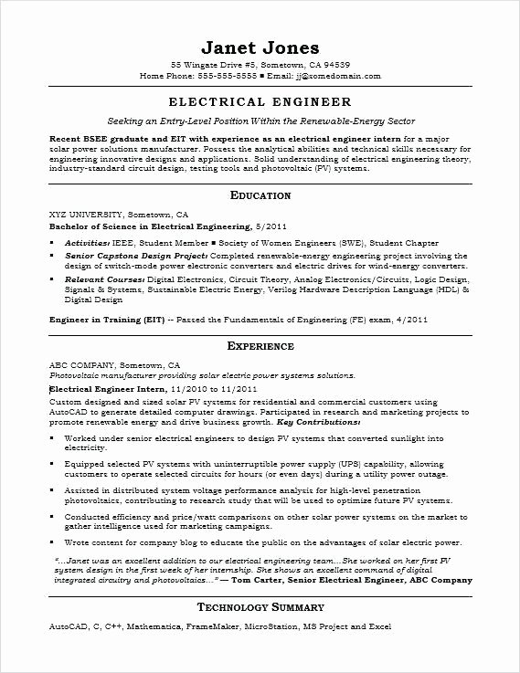 Entry Level Electrical Engineer Resume Unique Skills for Engineering Resume – Englishor